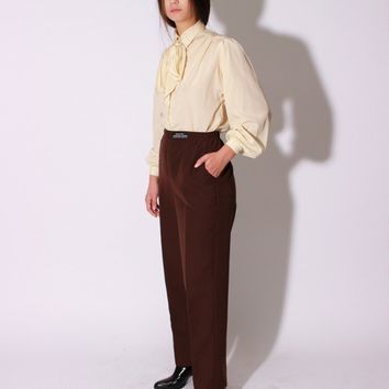 70s Puff Sleeve Bow Blouse / S