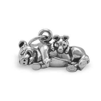 Adorable Oxidized Pig with Piglet