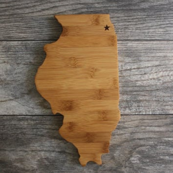 Illinois Cutting Board - Custom Engraved Illinois State Cutting Board - Perfect Wedding Gift, Engagement Gift, Housewarming Gift