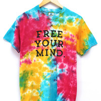 Free Your Mind. Rainbow Splatter Tie-Dye Graphic Unisex Tee