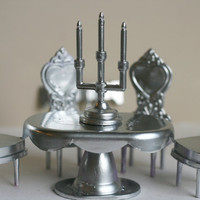 Miniature European Style Dining Set, Table and Chairs, 8 Piece Set.