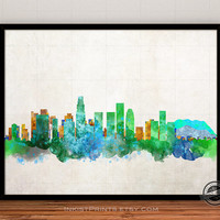 California Skyline Watercolor Poster, Los Angeles Print, Cityscape, City Painting, States, Illustration Art Paint, Giclee Wall, Home Decor