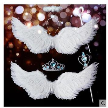 PEAPLO3 Wing Halloween Xmas Decorate Wedding Bride Flower Girl Angellwing White Feather Adult chilren Victoria Secret Kids coustume sexy