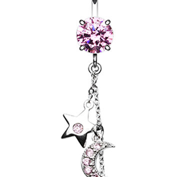 Wishing Star and Moon Belly Button Ring