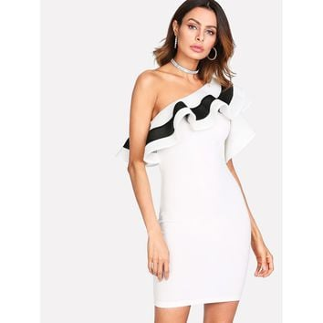 Flounce One Shoulder Fitted Dress