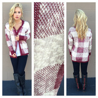 Burgundy & Cream Plaid Knit Cardigan
