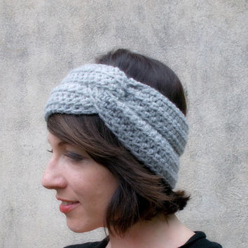 Knit twist Headband , Grey Headwarmer , Earwarmer , head Warmer , Soft Turban Head Band , Winter Fall Headband