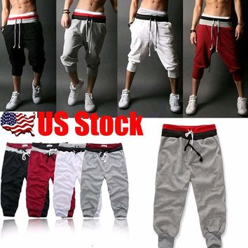 Men 3/4 Knee Casual Jogger Sport Shorts Baggy Gym Harem Pants Rope Trousers USA