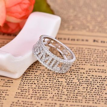 Hot brand women jewelry initial letter SMILE ring silver color white alphabet letters wedding finger ring monaco jewelry