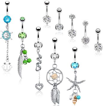 BodyJ4You 10 Belly Button Rings Dangle Banana Bar 14G Steel CZ Crystals Navel Body Jewelry
