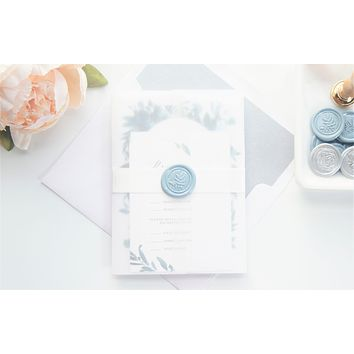 Blue Floral Watercolor Wedding Invitation - DEPOSIT