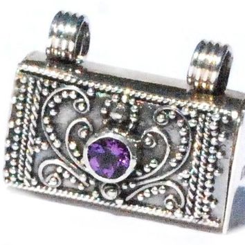 Sterling Silver Bali handmade facet Amethyst prayer box pendant