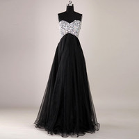 2013New Sweetheart Beaded Tulle Formal Ball Party Long Prom Evening Dresses Gown