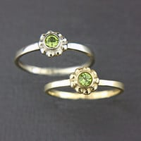 Peridot Gold Ring Peridot 14k White Pink Yellow Gold Ring Made in Your Size Peridot Engagement Ring August Birthstone