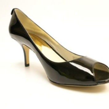 Michael Kors Winslow Open Toe Mid Heel Pump Black Patent Women's 8.5 M US