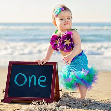 Mermaid Tutu, Little Mermaid, Mermaid Party, Mermaid Costume, Ocean Theme, Beach Theme, Beach Birthday, Photography Prop, Baby Bikini, OOC