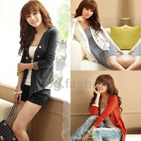 New Korean Fashion Women Ladies Casual Loose Long Sleeve Cardigan Coat Jacket