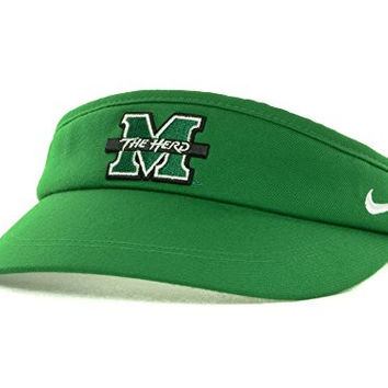 Nike Marshall Thundering Herd Sideline Adjustable Dri-FIT Hat Cap Visor (One Size, Green)