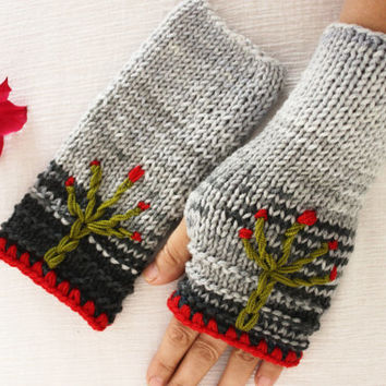 The Tree of Life knitting gloves gray pink green embroidered hippie boho Arm Warmers Fingerless Gloves with Bohemian Mittens Knitted gloves