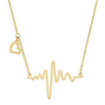 AUGUAU ELBLUVF 18k Rose Gold Plated Stainless steel EKG Heartbeat Love Cardiogram Necklace Jewelry for women