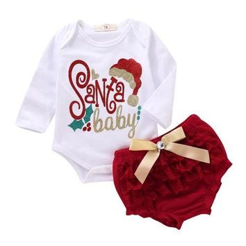 Santa Baby Onesuit with Ruffled Bloomers