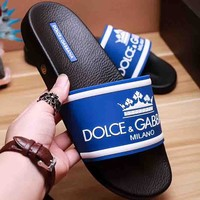 Dolce & Gabbana New Fashion Letter Print Crown Women And Men Slipper Sandals Blue