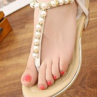 T-Strap Pearl Sandals - White from UrbanPUF