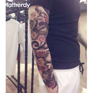 1pc full arm tattoo stickers large flower shoulder fake tattoos sleeve for man body paint death skull rose Black Fire Death 48cm