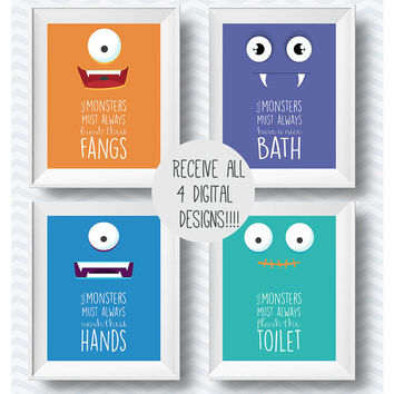 set of bathroom rules, bathroom printables, bathroom printable, Bathroom art, kids art printable, hand washing poster, hand wash sign, kids