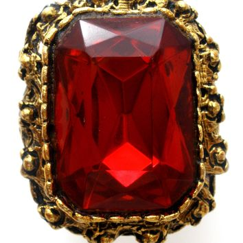 Vintage Red Rhinestone Ring Adjustable