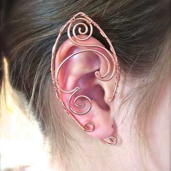 Copper Pair of Elf Ear Cuffs, Very Fun Design Ear Wraps, Renaissance, Elven, Hobbit, Elf, Fantasy Ear Wraps