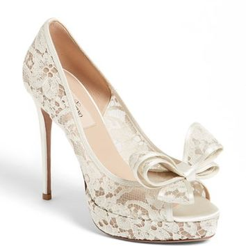 Valentino 'Lace Couture Bow' Open Toe Pump