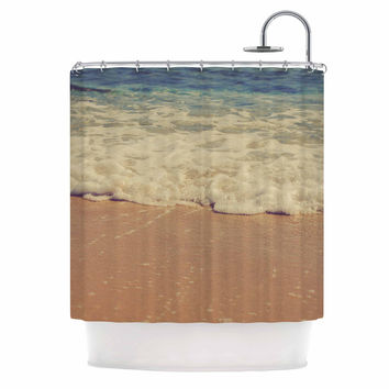"Violet Hudson ""Sandy"" Brown Coastal Shower Curtain"