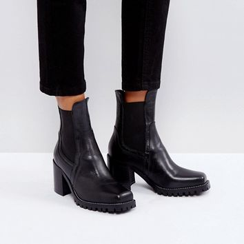 River Island Cleated Sole Heeled Leather Boots at asos.com