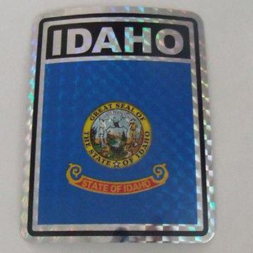 "Idaho Flag Reflective Sticker 3""x4"" Inches Adhesive Car Bumper Decal"