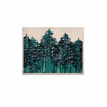"Ebi Emporium ""Forest Through The Trees 5"" Teal White KESS Naturals Canvas (Frame not Included)"