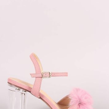 Liliana Fluffy Fur Chunky Clear Heel