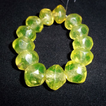 Vintage African Trade beads yellow vaseline glass  50mm UV Flourescent