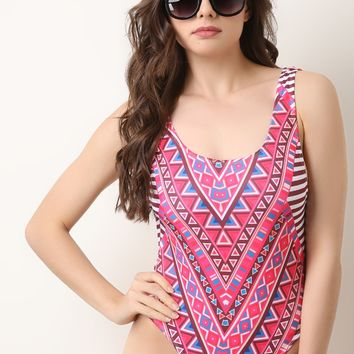 Tribal Stripe One Piece Swimsuit