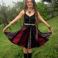 gypsy dress black red halloween festival costume