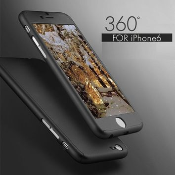 360 Degrees Full Protect Case Cover For iPhone 6 6S Plus Free Gift Tempered Glass Screen Protector