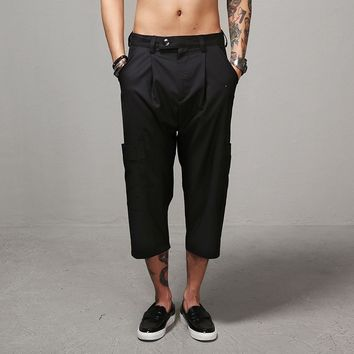 Mens Waist Banding Drop Crotch Capri Cargo Dress Pants at Fabrixquare