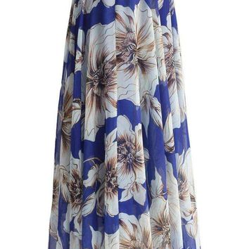 Blue Blossoming Floral Chiffon Maxi Skirt