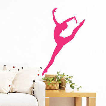 Wall Decal Vinyl Sticker Decals Home Decor Mural Ballerina Acrobatics Girl Ballet Dancer Gymnastics Sport Jump Bedroom Dance Studio AN202