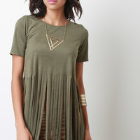 Long Fringe Vegan Suede Top