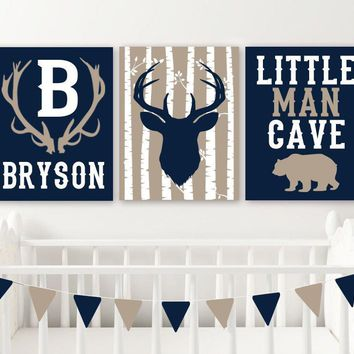 DEER Antler NURSERY DECOR, Baby Boy Nursery Wall Decor, Little Man Cave Bear Canvas or Prints, Boy Name Rustic Nursery Wall Decor, Set of 3