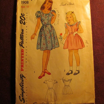 Sale Complete 1940's-50's Simplicity Sewing Pattern, 1908! Size 12 Girls/Kids/Child/Puff Sleeve Dress/Button Up Bodice/Ruffle Sleeve & Colla