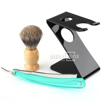 Men's Badger Hair Brush, Straight Razor, and Stand Holder