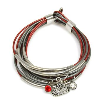 Scarlet and Gray Leather Wrap Bracelet With Silver Tube Beads And Clasp-Add Charms!