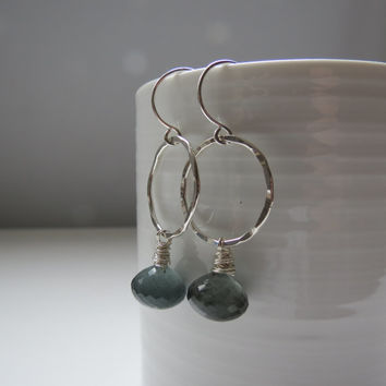 Moss Aquamarine Sterling Silver Hoop Earrings